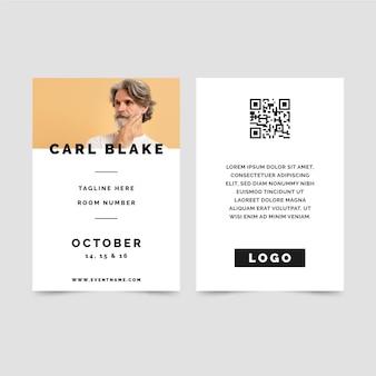 Cartões de identidade minimalistas com foto