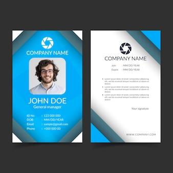 Cartões de identificação abstratos frente e verso com foto