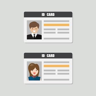 Cartões de identificação com ilustração vetorial de foto masculina e feminina. identidade pessoal em estilo simples