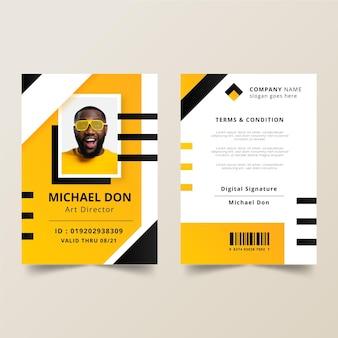 Cartões de identificação criativos com foto