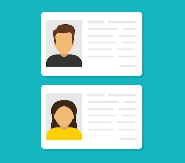 Cartões de identificação dados de informações pessoais documento de identificação com foto da pessoa