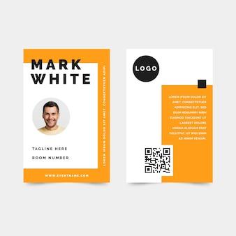 Cartões de identificação minimalistas com foto