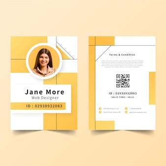 Cartões de identificação mínimos com foto Vetor grátis
