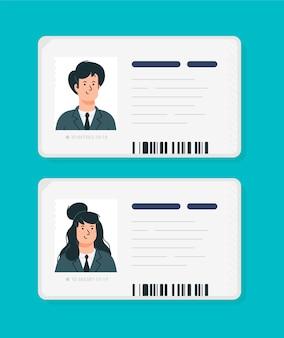Cartões de identificação plásticos de uma mulher e um homem.