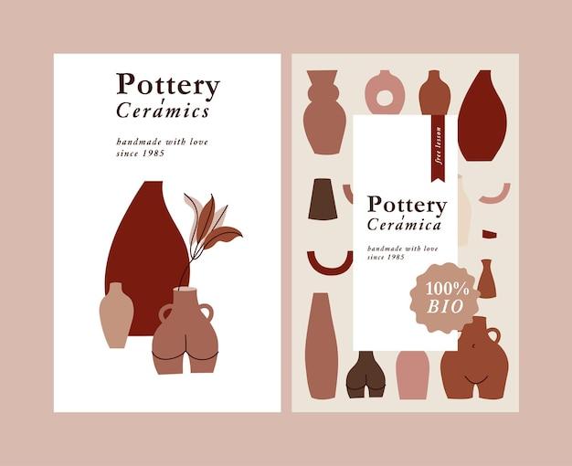 Cartões de ilustração com folhas de composição e vasos abstratos