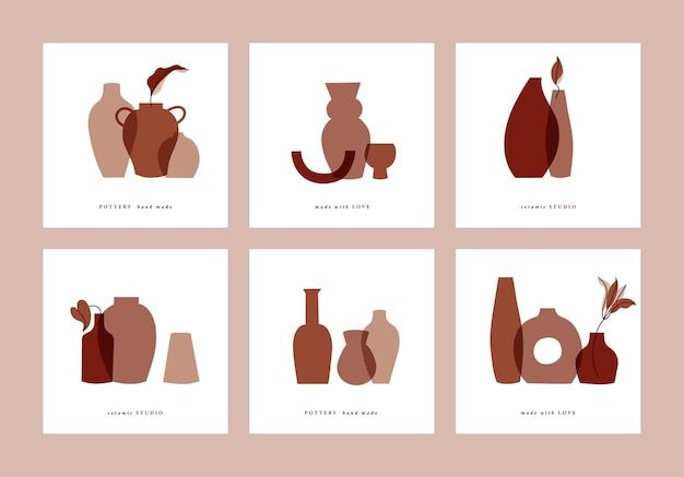 Cartões de ilustração conjunto com folhas de composições e vasos abstratos.