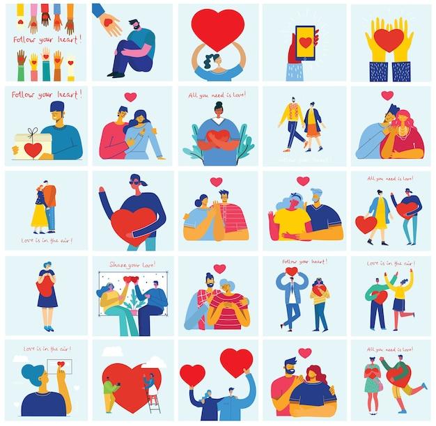 Cartões de ilustração vetorial dos namorados em um estilo simples de casais felizes apaixonados