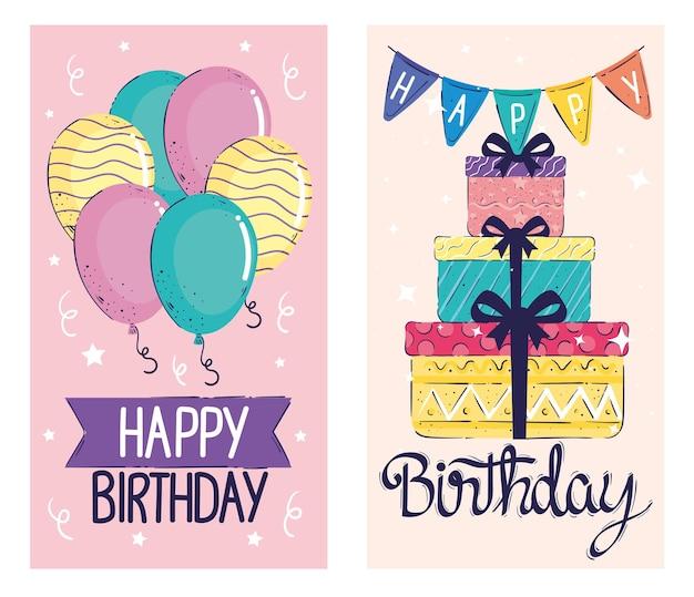 Cartões de inscrições de feliz aniversário com balões de hélio e ilustração de presentes