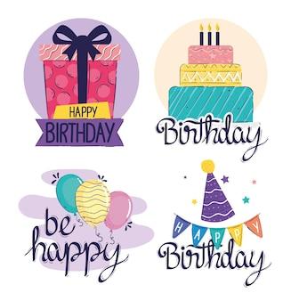 Cartões de inscrições de feliz aniversário com ilustração de conjunto de ícones