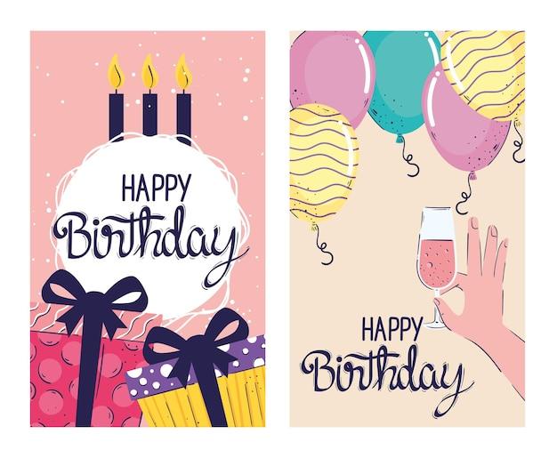 Cartões de inscrições de feliz aniversário com presentes e balões de ilustração de hélio