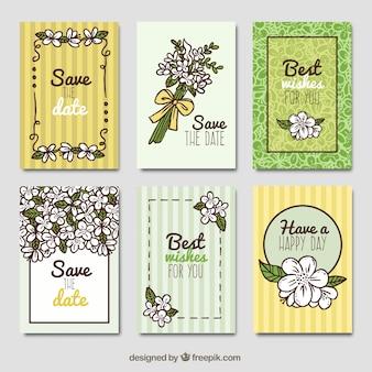 Cartões de jasmim com estilo desenhado a mão