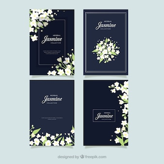Cartões de jasmim com estilo elegante