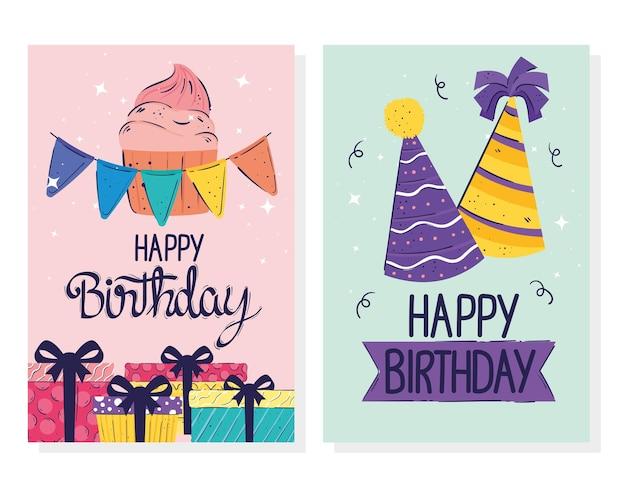 Cartões de letras de feliz aniversário com ilustração de presentes e chapéus