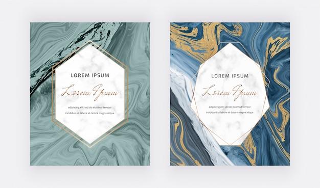 Cartões de líquidos azuis com glitter dourado e textura de moldura de mármore.