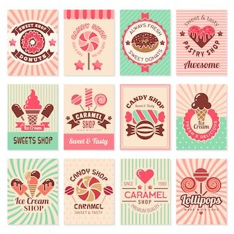 Cartões de loja de doces. símbolos de confeitaria de sobremesas alimentos doces para coleção de panfleto de menu de restaurante