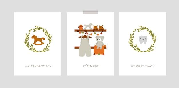 Cartões de marco de bebês com personagens de desenhos animados para menino recém-nascido. estampas de berçário no estilo boho