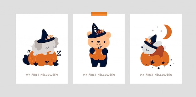 Cartões de marco definido para o halloween. estampa de berçário com ursinho, coelho e elefante