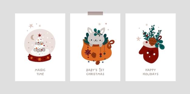Cartões de marco miliário do feriado de natal com coelho, árvore de natal. cartões festivos de natal