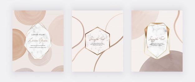 Cartões de meados do século com molduras em mármore e nude com formas aquarela marrons.