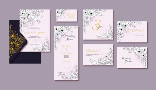 Cartões de modelo de casamento elegante com flor de magnólia