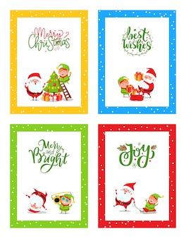 Cartões de natal bonito decorado com papai noel