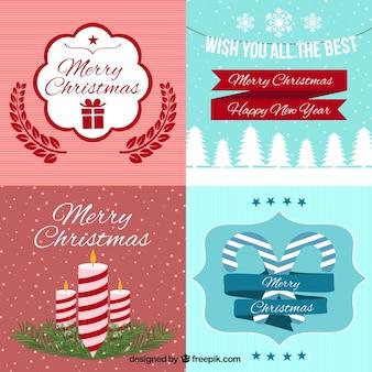 Cartões de natal bonitos no estilo do vintage
