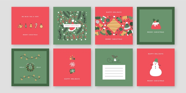 Cartões de natal coloridos desenhados à mão