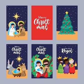 Cartões de natal com a sagrada família em adoração, bebê jesus