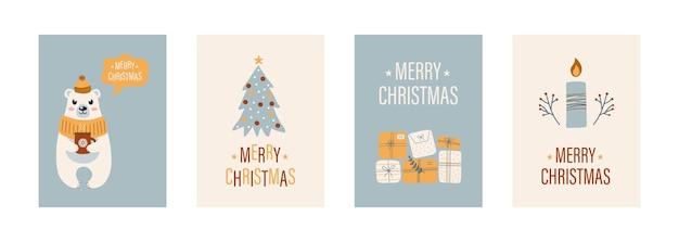 Cartões de natal com caixas de presente árvore de natal, vela e plantas do urso polar bonito