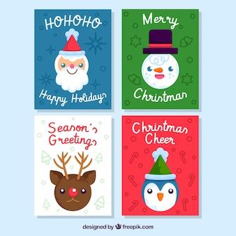 Cartões de natal com caras sorridentes