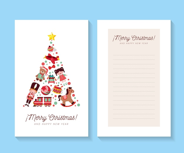 Cartões de natal com conceito de árvore de natal e espaço em branco