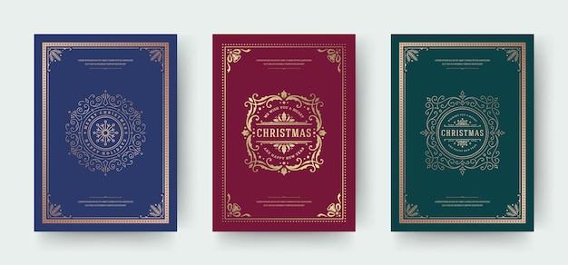 Cartões de natal com design tipográfico vintage e símbolos de decoração ornamentada com bagas de azevinho