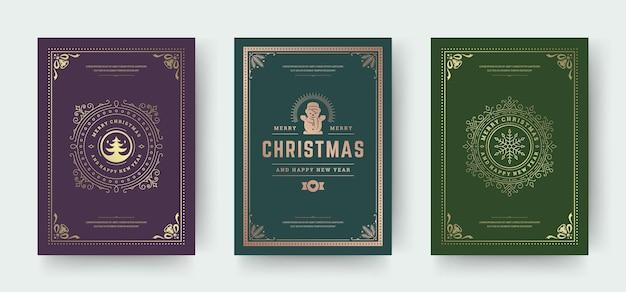 Cartões de natal com design tipográfico vintage e símbolos de decoração ornamentada com boneco de neve inverno