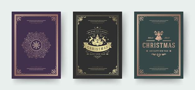 Cartões de natal com design tipográfico vintage e símbolos de decoração ornamentada com pinheiro inverno
