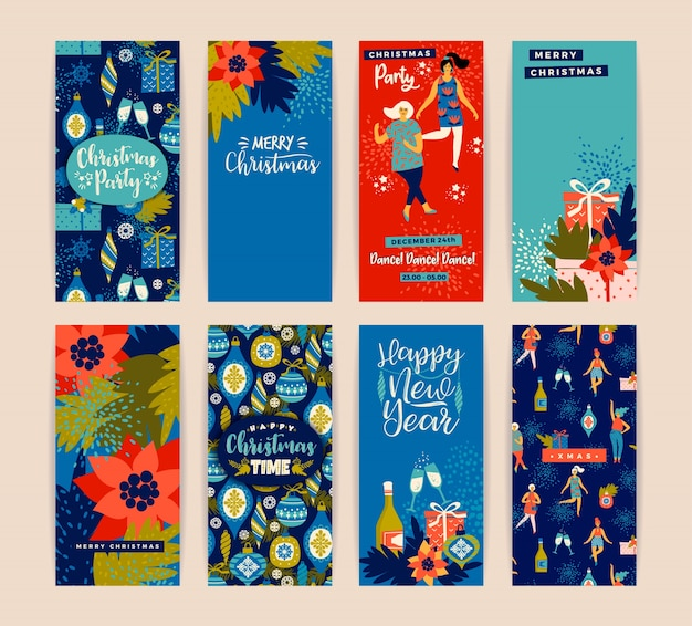Cartões de natal com mulheres dançantes e símbolos de ano novo.