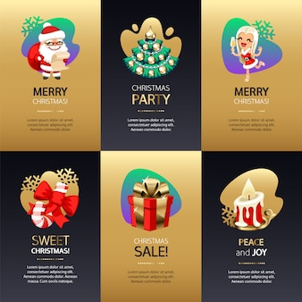 Cartões de natal com ouro e escuro