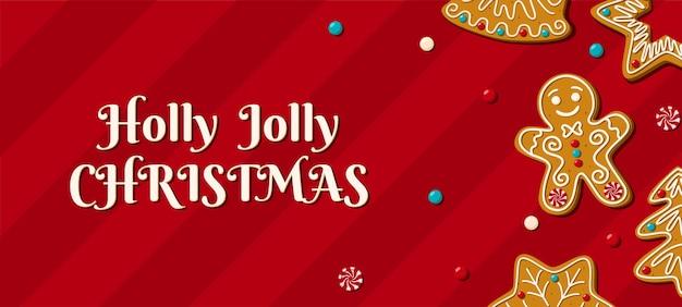 Cartões de natal com pão de mel caseiro em um fundo vermelho. frase de natal holly jolly