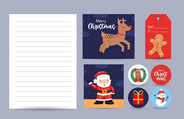 Cartões de natal com pão de mel de rena de papai noel