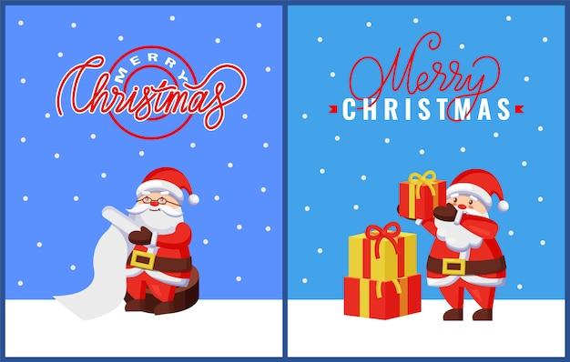 Cartões de natal com papai noel e presentes