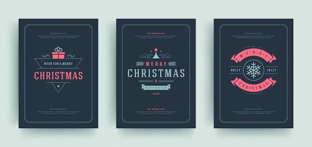 Cartões de natal conjunto modelo com etiquetas de decoração.