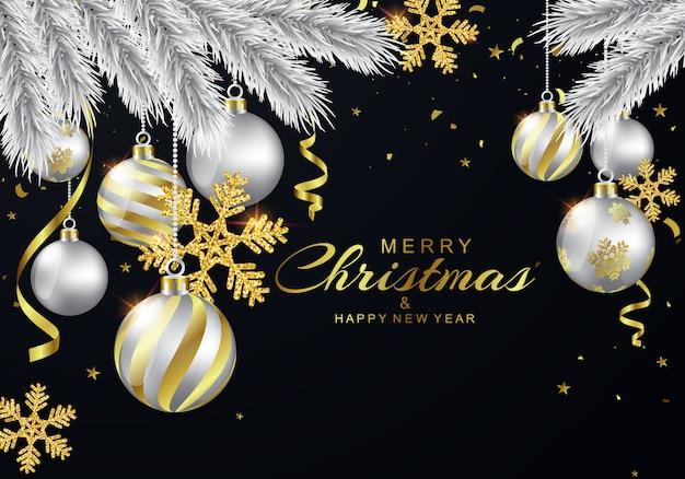 Cartões de natal decorados com bolas de prata e flocos de neve brilhantes