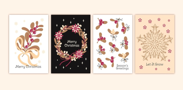 Cartões de natal desenhados à mão
