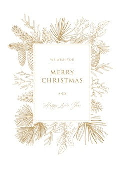 Cartões de natal e ano novo com galhos e cones de pinheiro. desenhado à mão