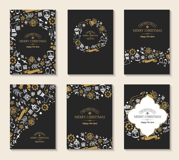 Cartões de natal e ano novo com inscrições de saudação e elementos de natal desenhados à mão no escuro