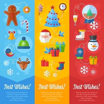 Cartões de natal e bandeiras de natal santa, cervo, árvore de xmas