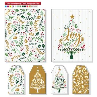 Cartões de natal e etiquetas de presente com padrão de folha de azevinho de natal