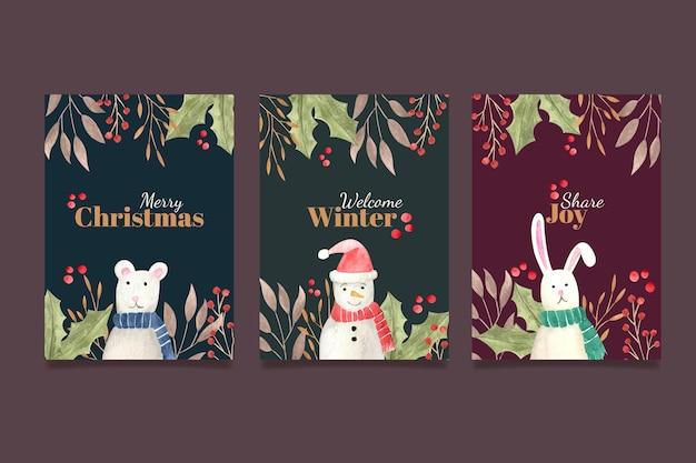 Cartões de natal em aquarela