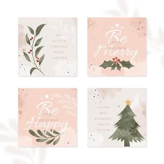 Cartões de natal orgânicos desenhados à mão