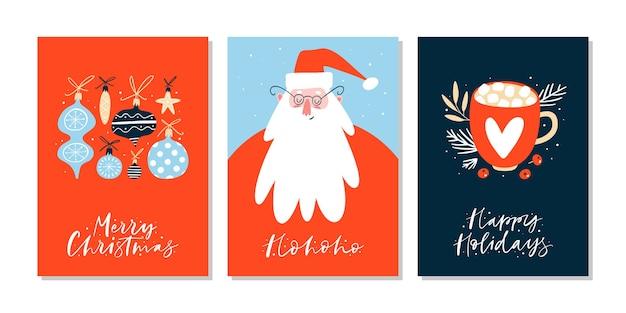 Cartões de natal ou etiquetas com letras e elementos de design de mão desenhada.