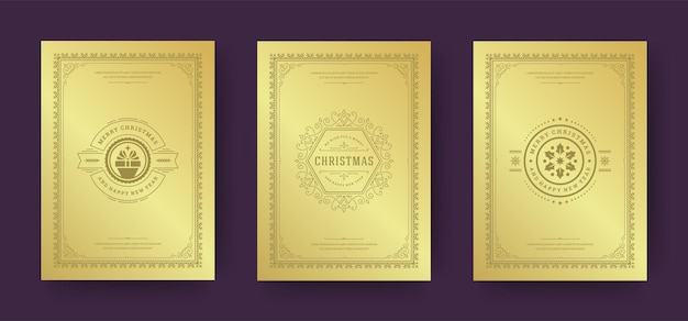 Cartões de natal projetam símbolos de decoração ornamentados com caixa de presente desejos de férias de inverno